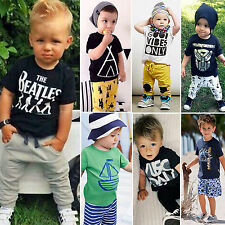 Toddler Kids Boys Girls Letter Printed Tee Shirt Tops Shorts Pant Outfit Pajamas