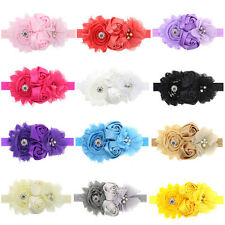 Baby Kids Girls Lace Sunflower Double Rose Pearl Rhinestone Hair Band Headband