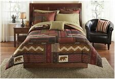 8-pc Comforter Bedding Sheet Set King Full Queen Twin Bear Lodge Rustic Bedroom