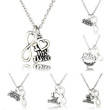 Letter Infinity Pendant Necklace Family Gift Lover Wife Husband Charm Hot Trendy