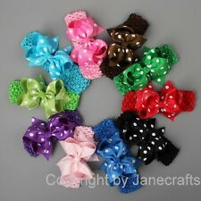 "10pcs 4"" Polka Dot Grosgrain Ribbon Hair Bow Clip Crochet Headband Band Girls"