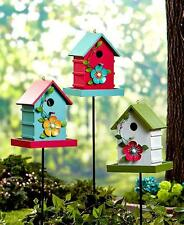 ~NEW~ Adorable Lighted Birdhouse Feeder Stakes Outdoor Garden Decor Yard Bird