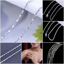 1/5pcs Women 925 Silver 1mm Starry Style Chain Necklace 16''-24'' Fashion