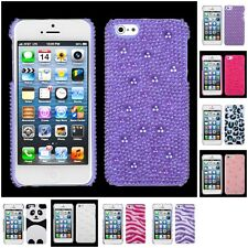 For Apple iPhone 5S/5 Pearl Diamante Bling Diamond Back Protector Case Cover