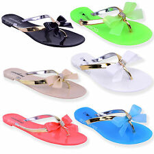 New Women Girls Jelly Sandals Shoes Flat Beach Summer Flip Flops Size