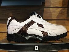 NEW FootJoy Contour Contrast Stitch Golf Shoe #54043 Wht/Brn-Choose Size