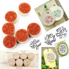 Popular Handwriting Wish Sentiment Wooden Rubber Round Stamp Floral Choose Word