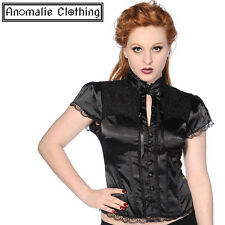 Black Satin & Lace Gothic Corset Shirt by Banned Apparel - Goth Victorian Lolita