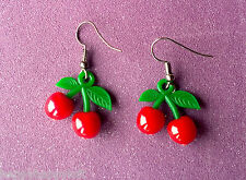 FUNKY CHERRY CHERRIES SUMMER EARRINGS ROCKABILLY CUTE EMO GOTH DANGLY DROP PUNK