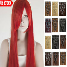 Professional Salon Clip In Remy Human Hair Extensions Full Head 100% Cheap US C0