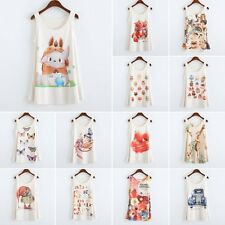 Hot Womens Lady Fitted Sleeveless Printed T Shirt Blouse Vest Tank Top 20 Colors