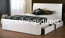 4FT 4FT6 DOUBLE 5FT KING 6FT FAUX LEATHER WHITE BLACK BROWN 4 DRAWER STORAGE BED