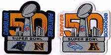 SUPER BOWL 50 AFC NFC PATCH PROGRAM DENVER BRONCOS CAROLINA PANTHERS SUPERBOWL
