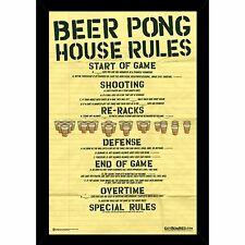 Beer Pong- House Rules Poster (24x36) choice of Frame, Woodmount, or Rolled