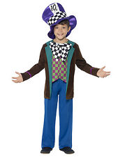 Deluxe Mad Hatter Costume Boys Childs Outfit Hat Jacket Halloween Childrens Kids