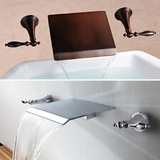 Bathroom Basin Sink Faucet Taps ORB&Chrome Finish Waterfall Wall Mounted SALE