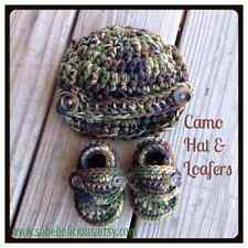 BABY BOY Camouflage Newsboy Hat & Loafers Newborn Gift Crocheted Booties Shoes