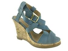 NEW LOOK LADIES LEATHER STRAPPY WIDE FIT WEDGE SANDALS BLUE SIZE 3-9
