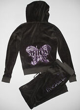 JUICY COUTURE~COAL BUTTERFLY VELOUR HOODIE JACKET PANTS~S~NWT AUTH