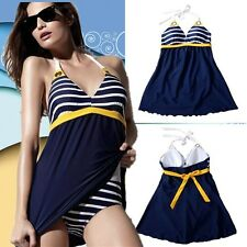Navy Stripe Push-up Padded Bathing Suit Swimwear One-piece Bikini Swimsuit Skirt