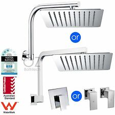 "Bathroom WELS Thin 10"" Square Shower Head Swivel Wall Arm & Mixer Tap Set Chrome"