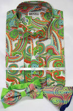 Menz Mens Dress Shirt Tie Hanky Combo Green Paisley