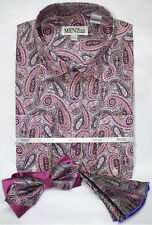 Menz Mens Dress Shirt Tie Hanky Combo Purple Paisley