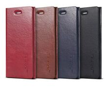Genuine Leather Magnetic Wallet Card Slot Thin Flip Pouch Stand Cover For iPhone