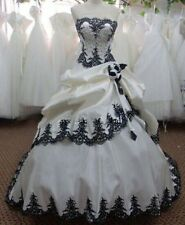New Strapless Black and White Embroidery Wedding Dress Bridal Gown Custom Size