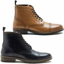 Mens Leather Boots New Smart Formal Brogue Combat Lace Ankle Boots Shoes Size