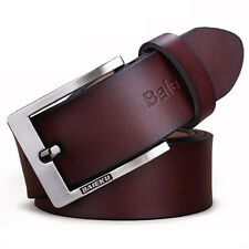 New Genuine Cow Leather Men's Waistband Waist Strap Belt Smooth Alloy Pin Buckle