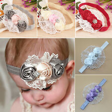 Newest Lovely Girls Elastic Headbands Rose Flower Crystal Baby Hair Accessories