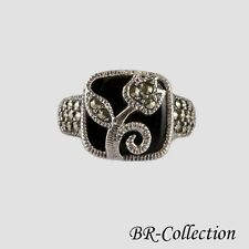 925 Sterling Silver Flower Ring with Black Onyx and Swiss Marcasite