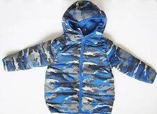 NWT Gymboree Boys Camo Hooded Puffer Jacket Coat Blue Gray Sizes XS S M