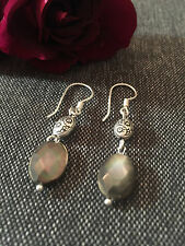 925 STERLING SILVER EARRINGS - GREY SHEEN OVAL DROPS WITH DETAIL BAUBLE
