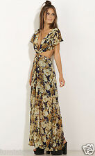 Floral Empire Twist Maxi Dress M 10 12 L 14 Sexy Plunging Top Flowy Skirt Hot