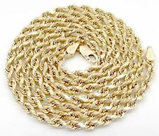 "10k yellow gold hollow 4mm diamond cut rope chain 18"" - 30"" inches"