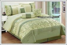 Sage Green Jacquard Pintuck 7pc* KING QUEEN Comforter Set + Valance +3 Cushion