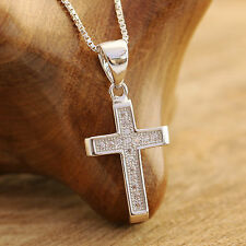 925 Sterling Silver Holy Cross With CZ Stones Pendant Chain Necklace w Gift Box
