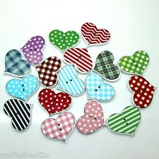 50 Heart Shaped Wooden Buttons - Scrapbooking - Crafting - Sewing - UK SELLER!