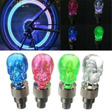 Skull Shape Valve Cap LED Light Wheel Tyre Lamp for Car Motorbike Bike Bicycle #