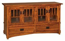 Amish Mission Arts & Crafts TV Stand Cabinet Media Storage Solid Wood 60""