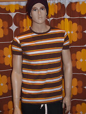 mens new 60's/70's vintage retro mod style brown orange white striped t shirt