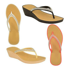 LADIES WOMEN WEDGE TOE POST FLIP FLOP DIAMONTE SANDAL, BEACH OR CASUAL WEAR NEW
