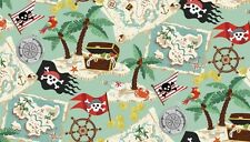 Makower fabric Pirates - treasure maps jolly roger cotton patchwork quilting