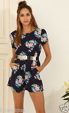 Floral Navy Romper Lined Top M 12 Pockets in Shorts Playsuit Spring Flowers