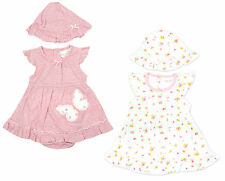 Girls Baby Butterfly Ditsy Frill Bodysuit Dress & Hat Set Newborn to 12 Months