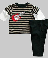 Carter's baby boy striped 2-pc outfit guitar applique & pocket pants 3 & 6 m NWT