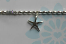 POM Silver Plated Small Hammered Starfish & Seed Pearl Bracelet