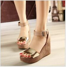 New Womens Pumps Platform Ankle Strap Buckle Open Toe Wedge Heels Sandals Shoes